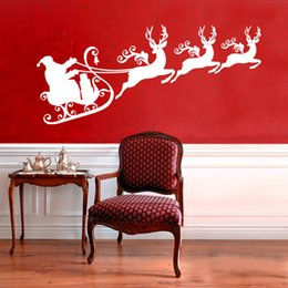 Reindeer Kids NZ - Reindeers With Santa Sleigh Silhouette Wall Mural Christmas Art Wall Stickers Home Kids Room Decoration Wall Decals MC021