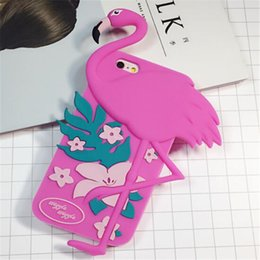 $enCountryForm.capitalKeyWord Canada - Cartoon Pink Birds Case For iphone 5S 6S 3D Cute Soft Silicone Flamingos Protective Shell Case For iphone 6plus