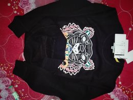 Cabeza de tigre bordado suéter hombre mujer alta calidad manga larga cuello O bordado algodón puro terry KZ 20 COLORES en venta