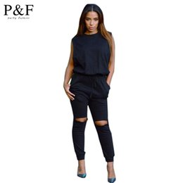 Barato Roupa De Peça Peça Sexy-Atacado-New Moda Inverno Long Pants Sexy One Piece Outfit Bodycon Black Jumpsuits Playsuit Drawstring Algodão Rompers Mulheres Jumpsuit