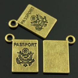 $enCountryForm.capitalKeyWord Australia - 150pcs lot 18*14mm vintage antique bronze plated passport charms DIY for handmade
