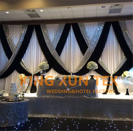 Chinese  White And Black 3M*6M Wedding Backdrop Curtain \ Stage Background With Silver Sequin Fabric For Event Decoration manufacturers