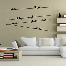 black glasses sticker Australia - 15 birds wall art decal decor black Vinyl removable wall stickers