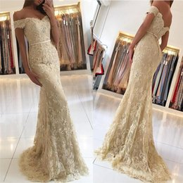 full button dresses NZ - New Design Full Lace Champagne Prom Dresses 2018 Off Shoulder Beads Mermaid Sweep Train Evening Party Pageant Gowns Vestidos de fiesta