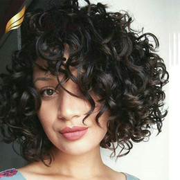 black curly human hair wig 2019 - Cheap Big Curly Lace Wig Human Hair Natural Black Loose Curly Hair Wigs Front Lace Wig For Black Women Bella Hair discou