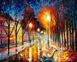 $enCountryForm.capitalKeyWord NZ - Free Shipping no frame Canvas Print Russian Federation Oil Painting street lamp rain tree Forest path chair lighting lake castle boat people