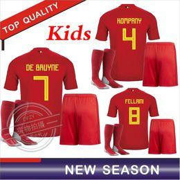 37be5502f7c Belgium Kids kit 17 18 LUKAKU FELLAINI E.HAZARD KOMPANY DE BRUYNE Soccer  Jersey 2018 Belgium home Jersey football shirt