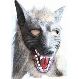 China Scary Fur Latex Full Head Overhead Wolf Mask Creepy Halloween Cosplay Masquerade Fancy Dress Up Theater Adult Costume Masks party Cosplay supplier dress up animal masks suppliers