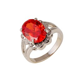 $enCountryForm.capitalKeyWord UK - Russian Wedding Rings Cheap Jewelry Elegant Floral Rings for Women with Ruby Rhinestone Rose Gold  Silver Plated Prong Setting Rings
