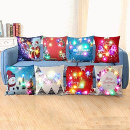 $enCountryForm.capitalKeyWord NZ - Creation Led Light Luminous Pillow Case Christmas Santa Claus Reindeer Pillow Case Sofa Car Decor Cushion 45*45cm WX9-62