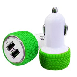 Wholesale HOT SALE New A A Mini Wheel shape Dual Port V USB Auto In Car Charger Adaptor Charging nice