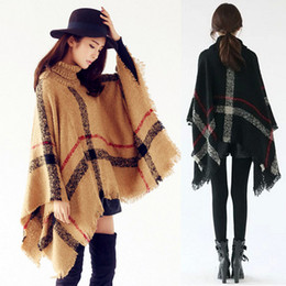 Wholesale- Women Oversized Plaid High Collar Loose Bat Sleeve Irregular Kintted Sweater Shawl Tassel Poncho Cape Coat Pullover
