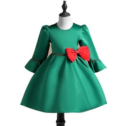 Tutúes Verdes De Las Muchachas Baratos-Everweekend Sweet Kids Girls Western Fashion Nuevo vestido de princesa Green Red Color Bow Niños Puff Sleeves Dress