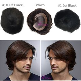 $enCountryForm.capitalKeyWord Canada - Human hair toupees Indian remy black and brown color Mono base men toupee hair replacement straight toupee for men