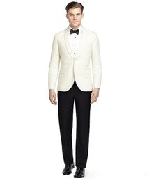 Ivory Linen Suit UK - New design Custom made Two Pieces wedding suits Groom Tuxedos Formal suits Handsome Business wears Groomsman suits (Jacket+Pants)