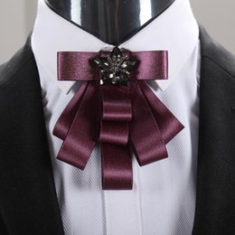 Barato Grooming, Arcos, Fitas-Handmade Ribbon Resin Rhinestone Bow Tie Groom Men Casamento Aniversário Party Charm Bowtie Gravatas Man's Formal Suit Tuxedo Fashion Decor