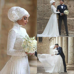 Modest high collared wedding dress online shopping - Modest High Neck Muslim Wedding Dresses Long Sleeves Appliques Ball African Custom Vestido de novia Formal Bridal Gown Plus Size Arabic