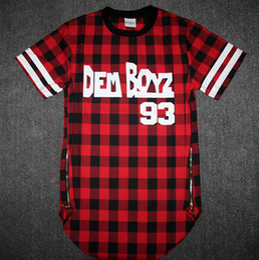 hba gold 2019 - Wholesale-Kanye West Style Tyga Cool Oversized Gold Side Zipper T-Shirt Men Hip Hop Extended Red Tartan Plaid T Shirt Hb