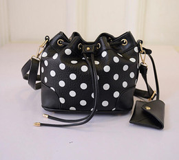 white crossbody handbags NZ - Wholesale-Fashion Black And White Handbags Printing Polka Dot Drawstring Bucket Bag Crossbody Bags For Women Small Shoulder Messenger Bag