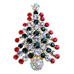 diamante buckles Canada - Sparkling Crystals Colorful Christmas Tree Brooch Stunning Mixed Colored Diamante Christmas Gift Buckle Pins