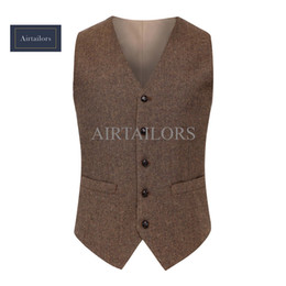 suit vests for men vintage UK - 2018 Vintage Wool Herringbone Tweed Vests Brand Mens Suit Vest Slim Fit Farm Wedding Vest For Men Formal Waistcoat Men