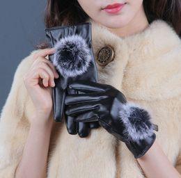 $enCountryForm.capitalKeyWord Canada - Faux Rabbit Fur Pom Pom PU Leather Mittens Women Velvet Touch Screen Five Fingers Gloves 12pairs lot