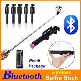 Discount monopods for iphone - Luxury Mini Folding Bluetooth Selfie Monopods for IOS iphone Android Smart phone wireless Handheld Extendable multi-colo