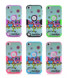 Plastic Bundle NZ - For Apple touch 5 Cartoon Owl Hybrid 3 in 1 Plastic TPU Hard Case For ipod touch 5 Cute protective Back Skin Cover