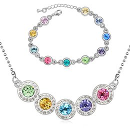 $enCountryForm.capitalKeyWord Canada - Austria Crystal Necklace Bracelet Jewelry Sets 925 Silver Plated Jewelry Set Fashion Top Quality Wedding Jewelry Set G063