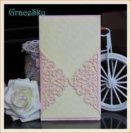 card blank glossy 2020 - 50x Free shipping Laser Cut Paper Lace Flower Vine pattern Hollow Out Wedding X'mas Party Paper Invitation Card wit