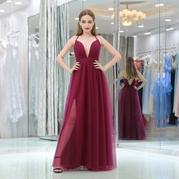 Barato Vestidos Baratos Da Mulher Longa-Cheap Long Evening Dresses 2018 A-Line Deep V Neck Andar Comprimento Simple Burgundy Evening Gown Mulheres Formal Prom Dresses Prom Gowns