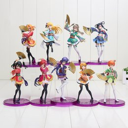 China 15-19cm Anime Love Live PVC Figure Honoka Minami Kotori Sonoda Umi Yazawa Niko with Fans Cute Girls Model Doll for Collection suppliers