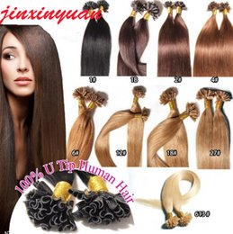 indian human hair factory Canada - Wholesale- 1g s 100g pack 14''- 24'' 100% Human Hair u Tip Hair Extensions Remy Indian Factory Price Stright nail u Tips Hair dhl free