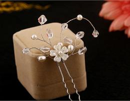 Pearl U Pin Canada - Elegant Wedding Bridal Hair Accessories Rhinestone Flower U Pins Women Party Head Pieces Bridal Head Pieces