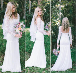 simple summer long sleeve wedding dress 2020 - Simple Beach Wedding Dresses Summer Sheer Long Sleeves Bohemian Chiffon Lace Floor Length Mermaid Backless Bridal Gowns