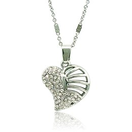 $enCountryForm.capitalKeyWord Canada - Lover Fashion Pendant Necklace White Rhinestone Sector Heart Silver Plated Necklace For Women Romantic Jewelry Valentines Gifts