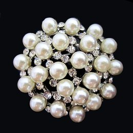 $enCountryForm.capitalKeyWord Canada - 1.7 Inch SILVER PLATED IVORY CREAM PEARL and CLEAR RHINESTONE CRYSTAL Flower PINS and BROOCH