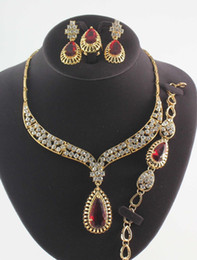 Red Indian Costumes Canada - Women New Fashion 18K Gold Plated Jewelry Sets Indian Austrian Crystal Rhinestone Wedding Accessories African Costume Necklace Set