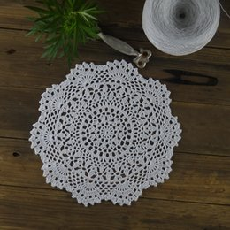 $enCountryForm.capitalKeyWord Australia - Handmade Crocheted Doilies Table Napkin pad Round Vintage Doilies wedding home decoration 10PC Coasters 28cm 11