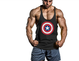 $enCountryForm.capitalKeyWord Canada - Captain America Gym Clothing Cotton Men Tank Top Singlets Bodybuilding Vests Exercise Fitness Wear Mens Sleeveless Shirts Stringer T Shirt