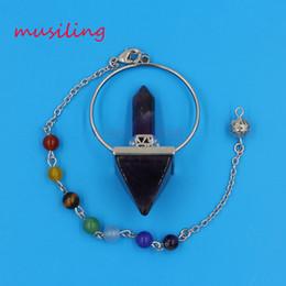 Amethyst Pendulum Pendant Australia - Pendants 7 Chakra Beads Chain Hexagon Prism Magic Wand Energy Tower Reiki Pendulum Natural Gem Stone Charms Healing Amulet Jewelry