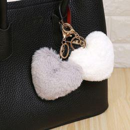 Heart Shaped Handbags Wholesale Australia - Luxury Fluffy Fur Keychain Soft Heart Lovely Heart Shape Pompons 8CM Genuine Rabbit Fur Ball Car Handbag Key Ring Multicolor