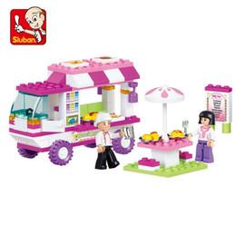 Sluban Blocks NZ - B0155 SLUBAN Girl Friends Pink Dream Snack Car Model Building Blocks Enlighten DIY Figure Toys For Children Compatible Legoe