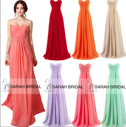 Discount cheap nude chiffon bridesmaid dresses - IN STOCK Cheap Coral Prom Party Dresses Cheap Bridesmaid Dress Red Nude Mint Orange Blue A-Line Sweetheart Evening Forma