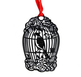 10 unids Acero Inoxidable Negro BirdCage Jaula de Pájaros Marcador Libro tarjeta Para la Boda Fiesta de Baby Shower Regalo de Cumpleaños Favor Souvenirs
