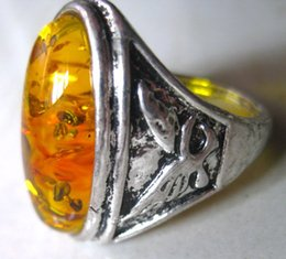 $enCountryForm.capitalKeyWord Canada - NEW best miao silver ring inlay amber fashion jewelry wholesale and retail