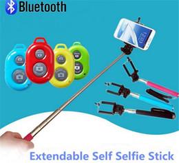 HandHeld bluetootH selfie stick monopod online shopping - Extendable Selfie Monopod Selfie Stick Handheld Monopod Clip Holder Bluetooth Camera Shutter Remote Controller for iPhone Samsung