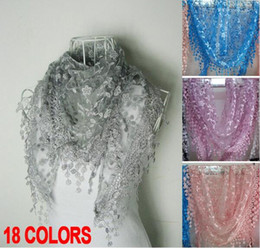 $enCountryForm.capitalKeyWord Canada - New Style Autumn Spring Women Silk flower Lace Triangle Pendant spain Brand scarf female Women Tassel shawls and scarves 18 Colors winter