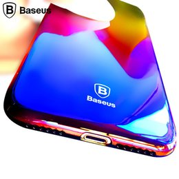 baseus iphone case Canada - Baseus Gradient Color Case For Iphone 7  7 Plus Luxury Slim Transparent Hard Glaze Case For Iphone 7 Case Cover