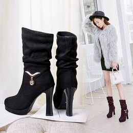 $enCountryForm.capitalKeyWord Canada - 2018 Water Proof High Heel Mid Calf Boots Woman Sexy Round Toe Heels Shoes Good Quality Half Short Botas Feminina Size 33-43